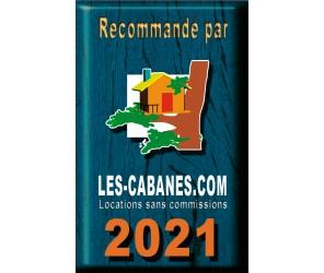 """Plaque déco métal """"recommandé par"""" Les Cabanes 2021"""